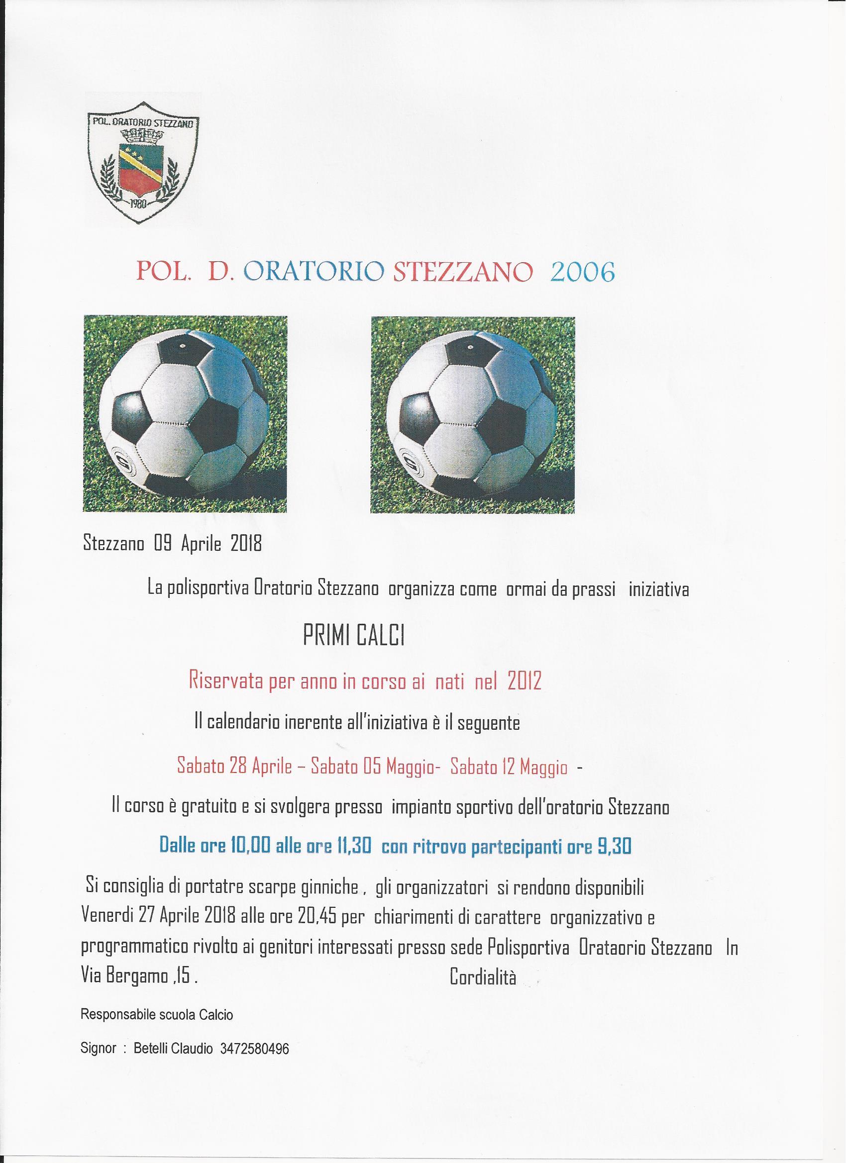 Calendario Figc Pulcini 2006.Polisportiva Oratorio Stezzano